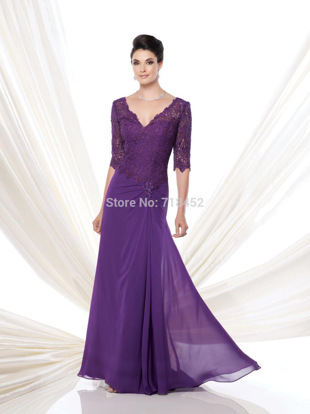Cheap Moda diseño púrpura de la gasa de la madre de novia vestido ...