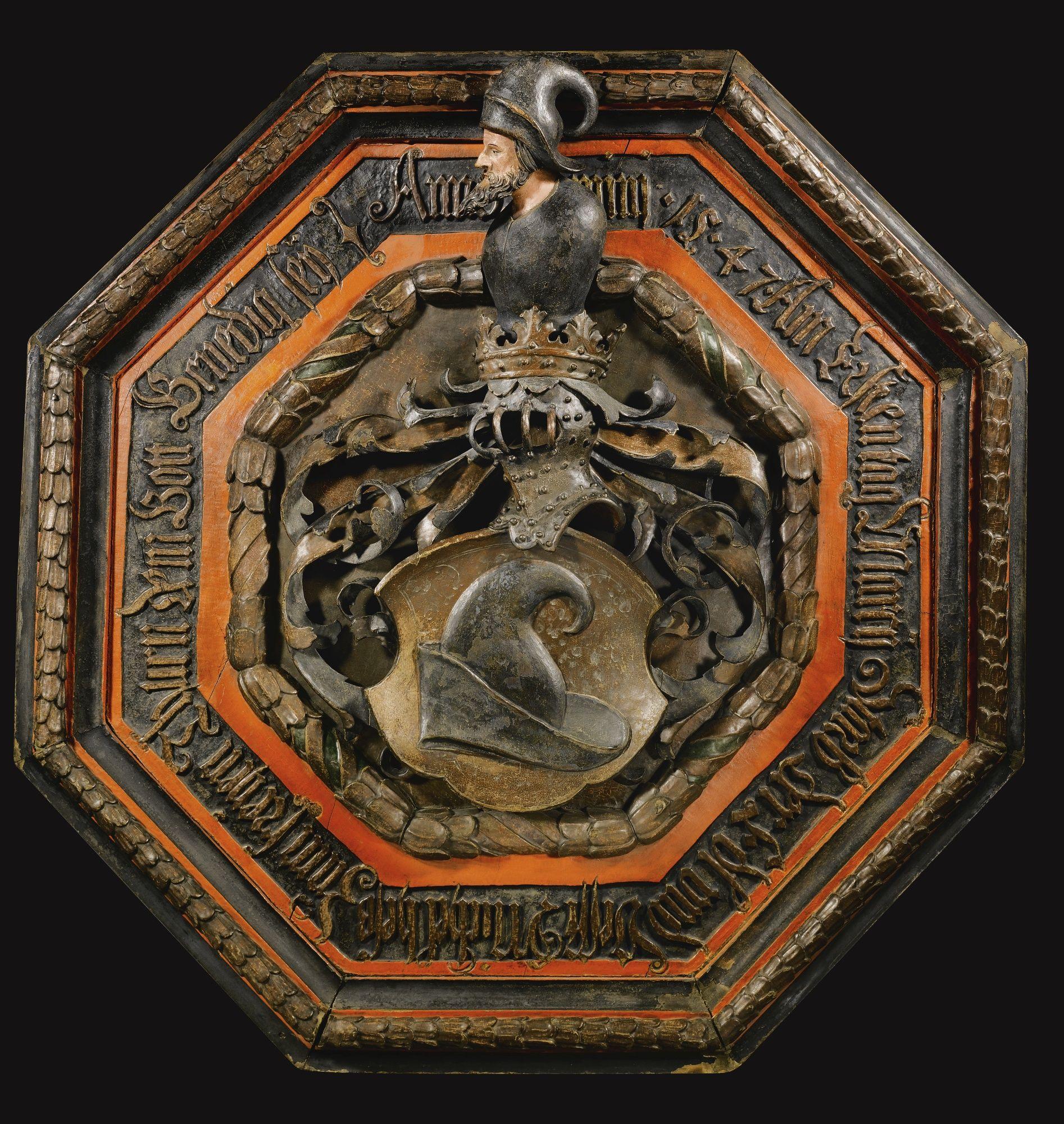 16th Century Memorial Shield for Michel Hess Zum Freijen Thurn, inscribed: Anno dominj 1547 Am Ersten tag Marcij Starb der Edl und Vesst Michel hesß Zum freijen Thurn, dem Gott Genedig seij