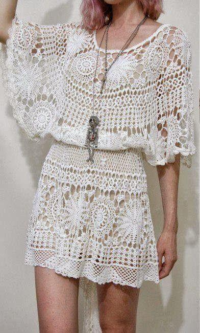 Especial vestidos de crochê com gráficos - Confira os modelos e ...