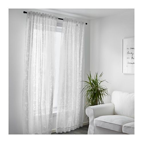 Borghild Sheer Curtains 1 Pair White Studio Apartment