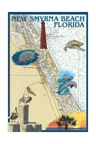 New Smyrna Beach Florida Map.New Smyrna Beach Florida Nautical Chart Wall Decor New Smyrna