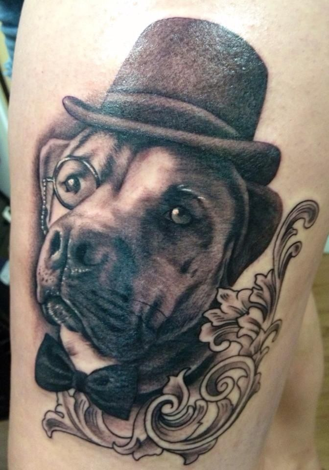 Monocle Hat Dog Portrait Tattoo It Makes Me Smile Every Time I See It O July 5 2013 Druzhe Bober Tattoo Bloomsbu Dog Portrait Tattoo Dog Tattoos Tattoos
