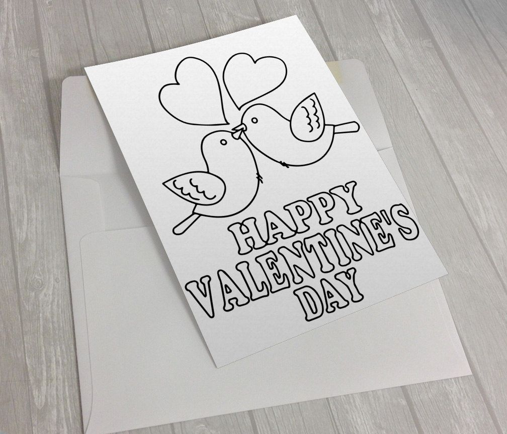 Valentine Coloring Card FREE Printable envelope template Love