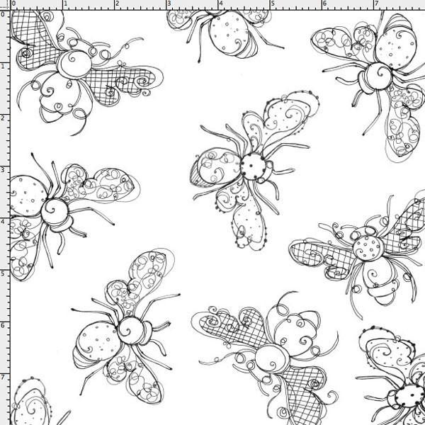 Busy Bees White Fabric Yard