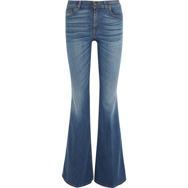 Tom Ford High-rise flared jeans (£645) ❤ liked on Polyvore featuring jeans, pants, bottoms, tom ford, blue, faded jeans, high rise jeans, blue jeans, blue high waisted jeans and high-waisted jeans