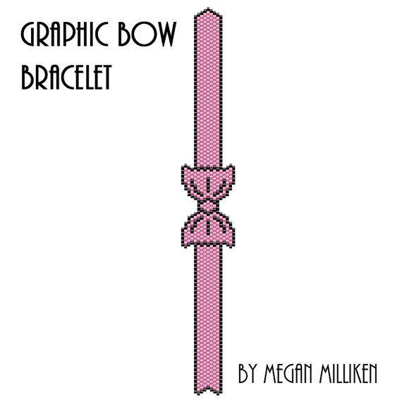 Graphic Beaded Bow Bracelet Peyote Pattern by MeganMillikenBeading