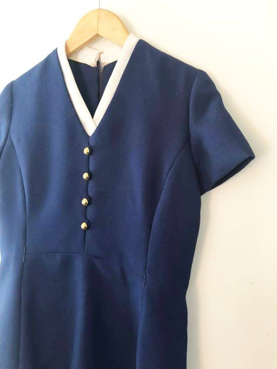 af39842eaf7ca Vintage 1970 s Blue and White Short Sleeve Dress   Secretary   2 Tone    Basic