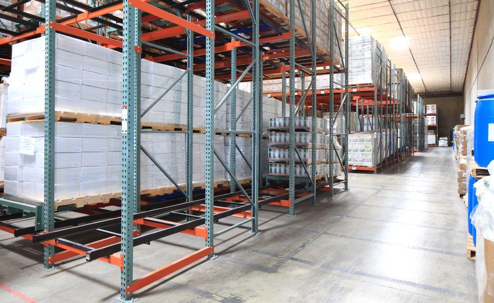 Example of pushback racking for desert depots warehouse