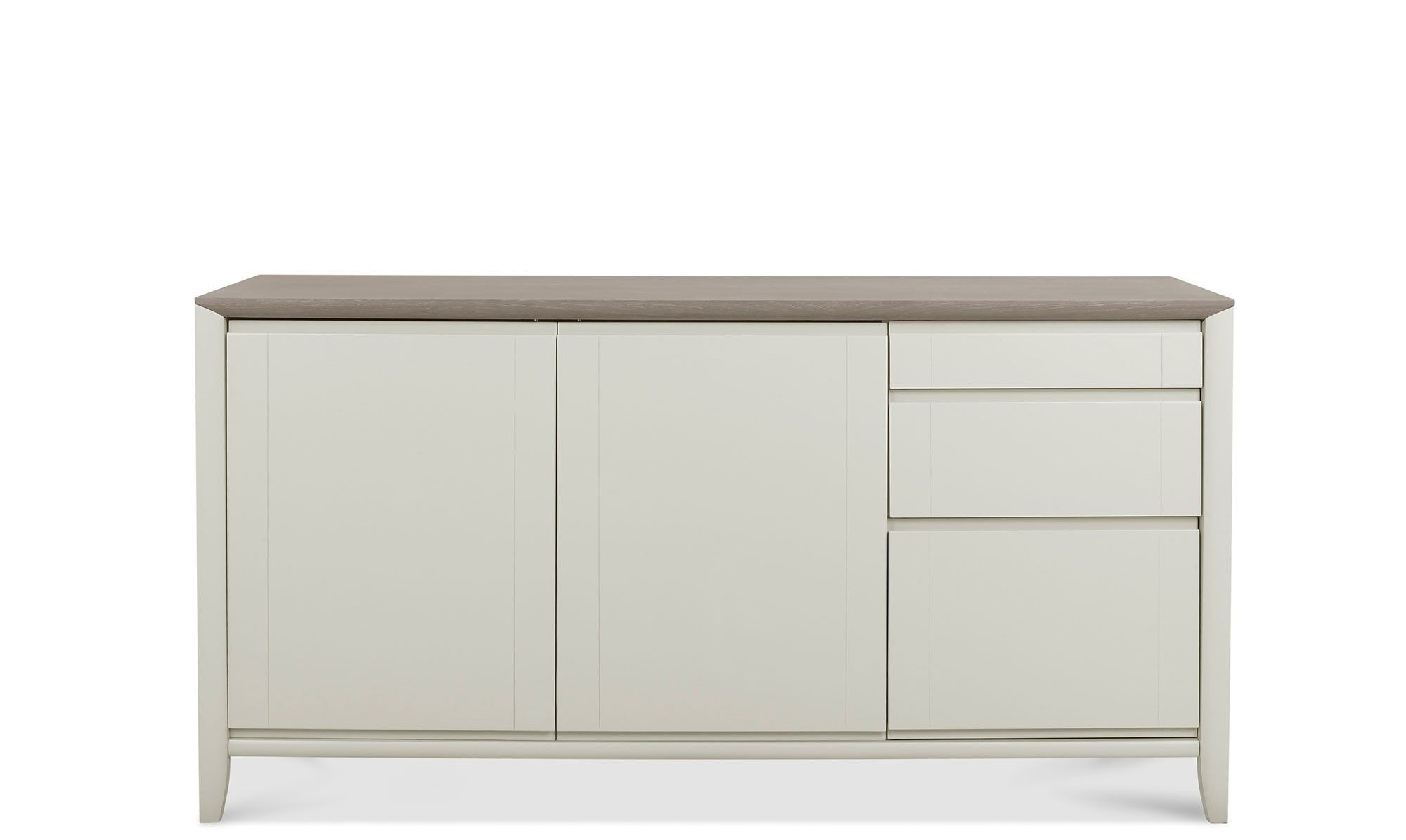 Bremen Wide Sideboard In Grey Washed Oak With Soft Grey