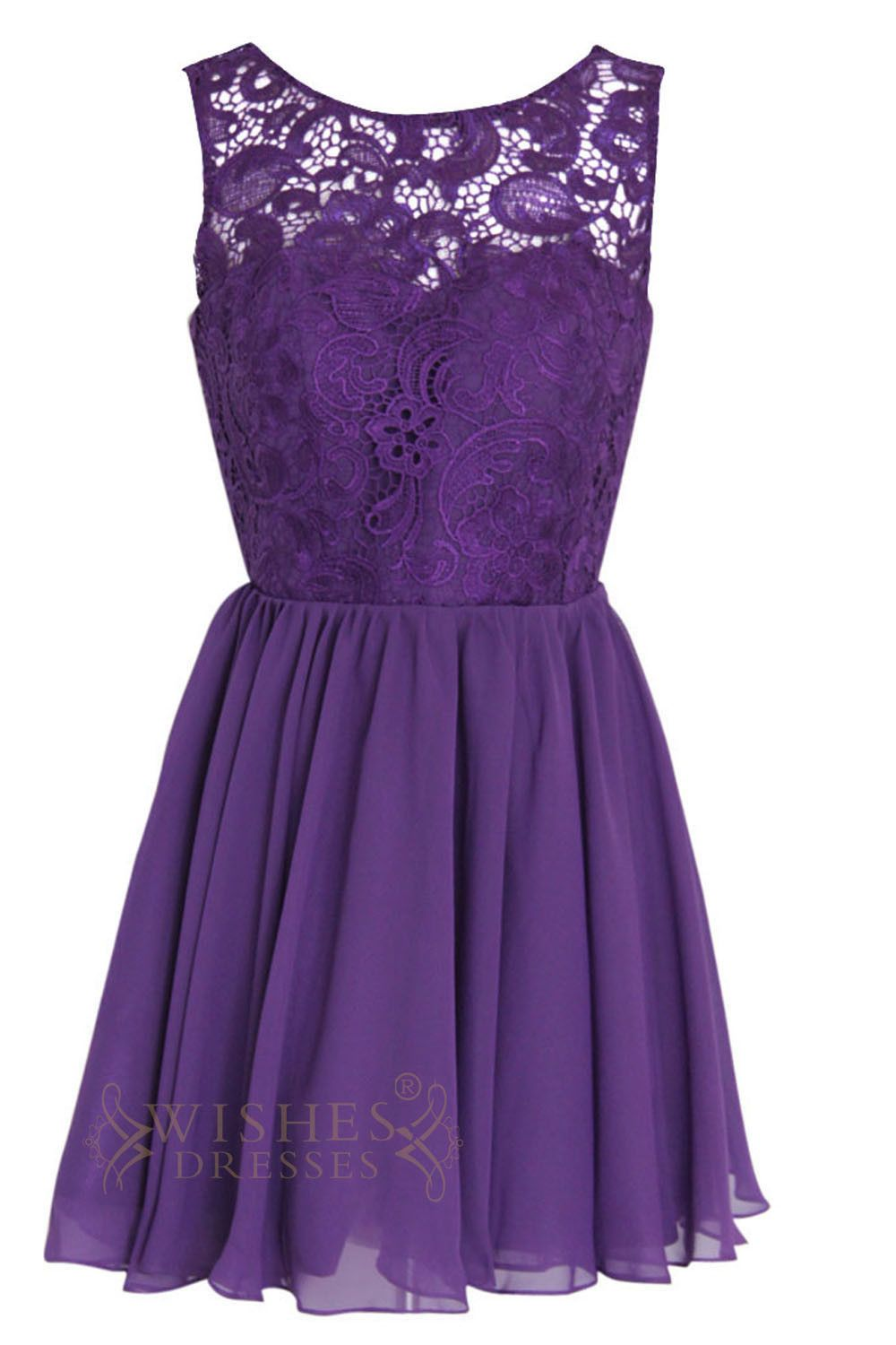A-line Illusion Lace top Purple Bridesmaid Dresses Am113 | Morado ...