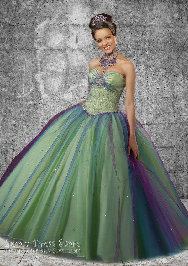 a261de3fe711 Ball Gown Sweetheart Neckline Floor Length Sleeveless Satin & Tulle Quinceanera  Dress with Beading (SAS373)