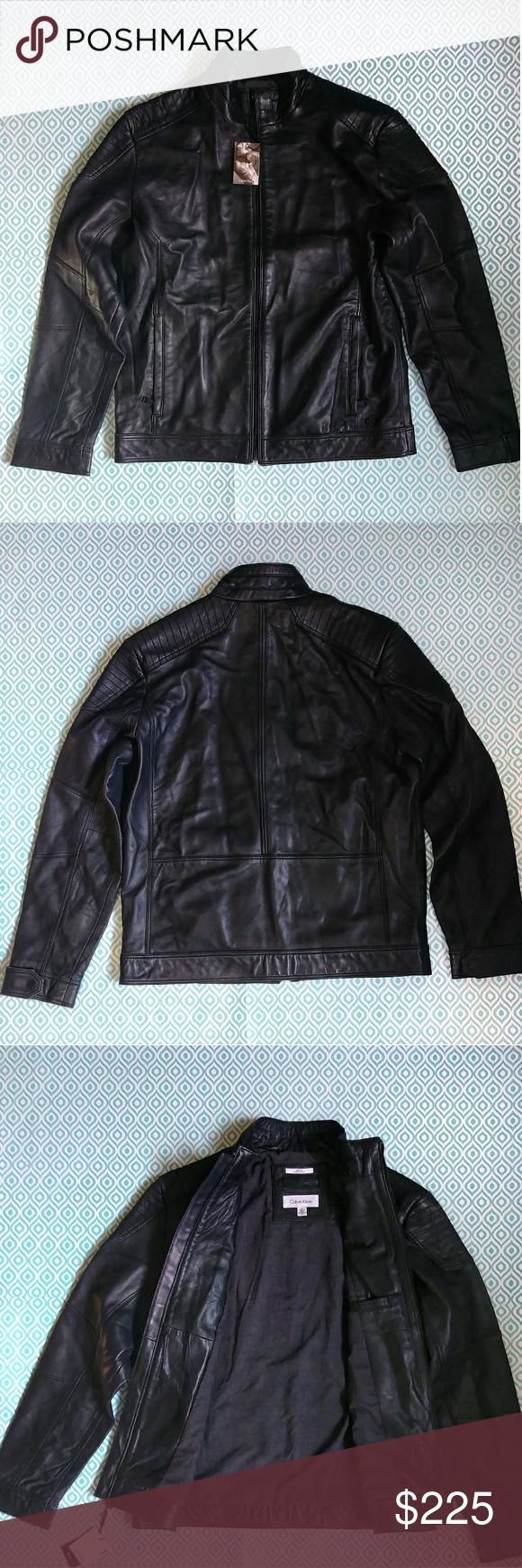 CALVIN KLEIN Black Leather Moto Jacket Calvin klein