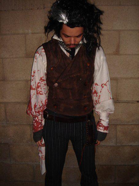 Mens Sweeney Todd Fancy Dress Costume Horror Halloween Costume Free Pants!!