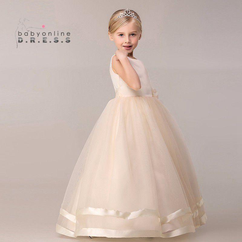 447c636922 8 Couleurs Princesse Enfants Communion Robes Grand Arc Fleur Fille Robes  Pour Les Mariages 2017 Organza Peagant Robe De Soirée De Mariage