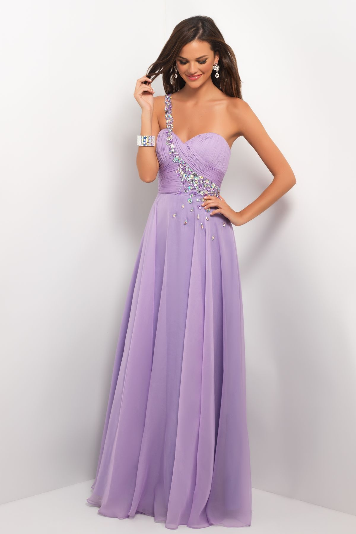 a7795f123d1b Assymetric crystals rock in this sexy prom dress! Jewels and stones define  a single shoulder and flow across your pleated bust into a full chiffon  dance ...