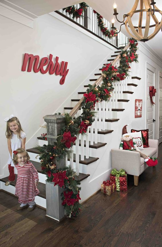 Stairs Decoration for Christmas Jingle all the way Pinterest
