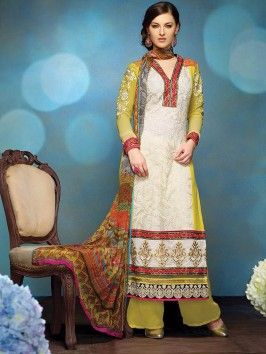 Yellow And White Georgette Suit With Resham Work (With Santone Inner)