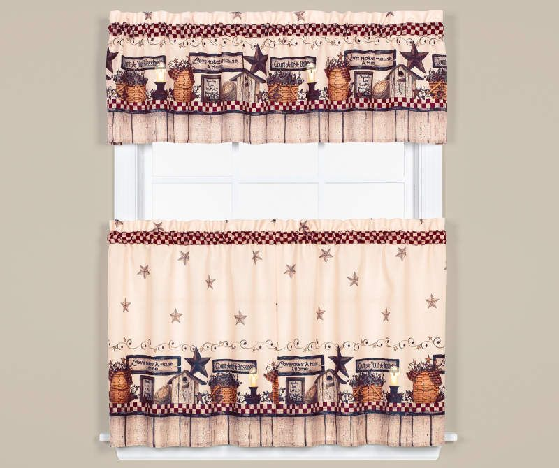 Living Colors Count Your Blessings 3 Piece Tier Valance Set