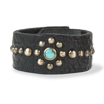 pinterest leather jewelry making ideas | leather/studs/turquoise bracelet