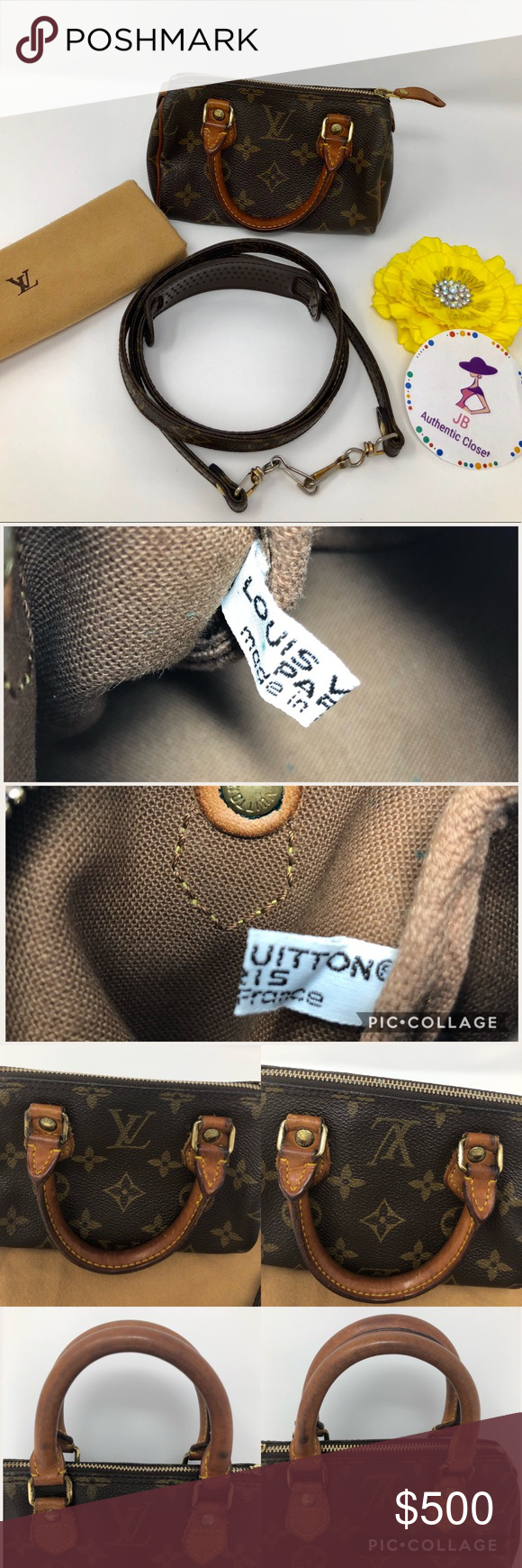 100 Authentic Mini Louis Vuitton Made In France Has No Date >> Louis Vuitton Speedy Mini 100 Authentic Preowned Used
