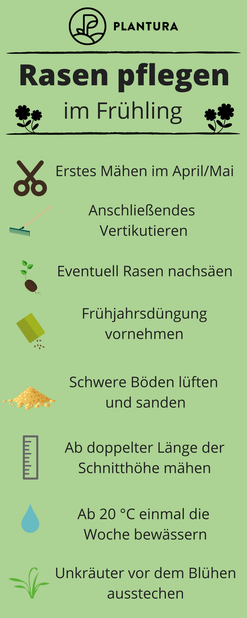 Lawn care all year round: what is important and when - Plantura There are many things you can do to maintain the perfect lawn. But at what time of the year is it best to subject the lawn to which maintenance measure? More about this at Plantura! #race #spring #maintenance  Informations About Rasen-Pflege rund ums Jahr: Was wann wichtig ist - Plantura Pin  You can easily use my profile to examine different pin types. Rasen-Pflege rund ums Jahr: Was wann wichtig ist - Plantura pins are as aesthet