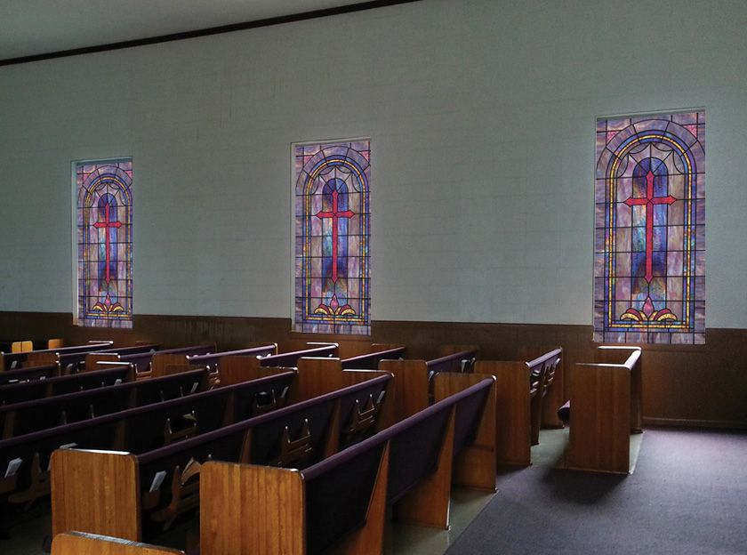Design In 6 With Cross And Custom Colors In A Church Setting