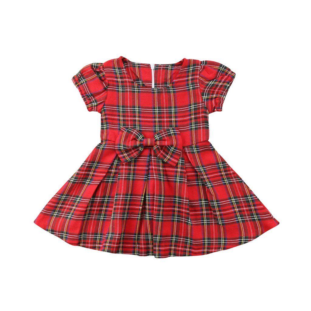 2019 Christmas Toddler Infant Baby Kids Girls Xmas Plaid Party Dress Tutu Dress