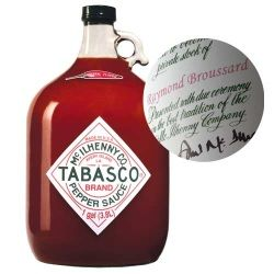 gifts.com: personalized gallon jug of tabasco. $44.95