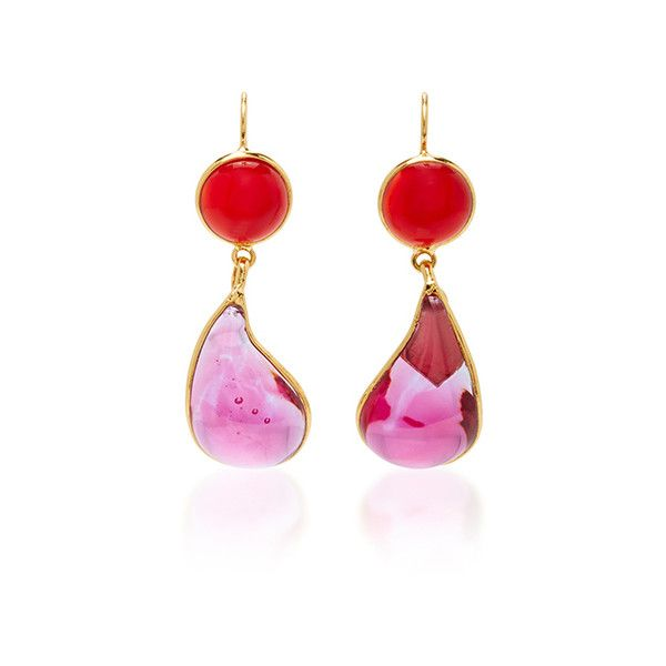 Loulou de la Falaise 24K Gold Plated Drop Earrings (17.175 RUB) ❤ liked on Polyvore featuring jewelry, earrings, pink, pink earrings, 24 karat gold jewelry, 24k jewelry, 24-karat gold jewelry and drop earrings