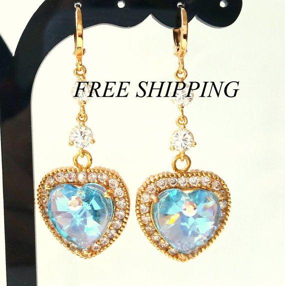 SWAROVSKI HEART earrings .gold filled swarovski by 1DSDesign