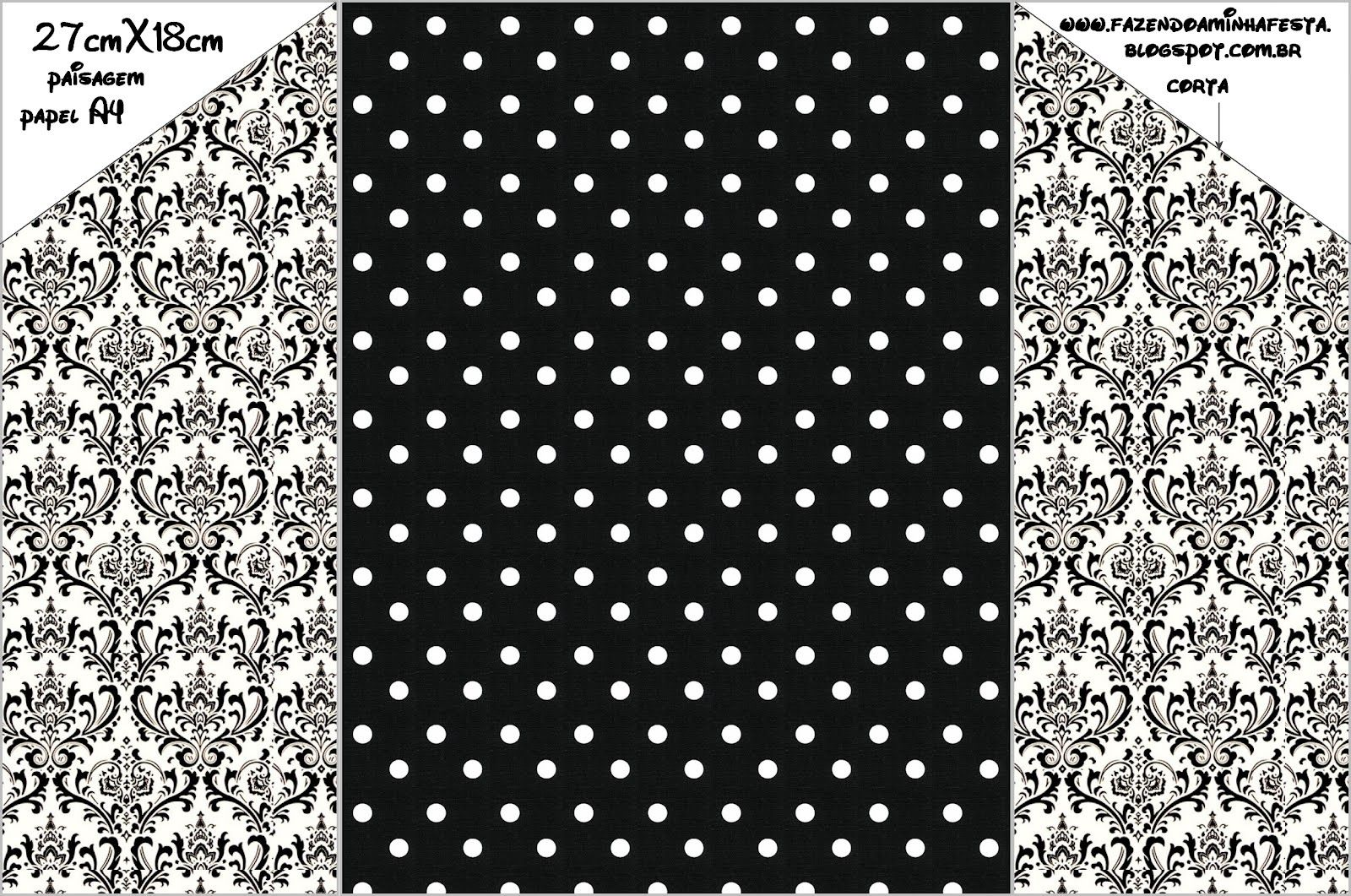 White and Black Damasks and Polka Dots: Free Printable Envelope and Invitation for Weddings. | Oh My Fiesta Wedding!