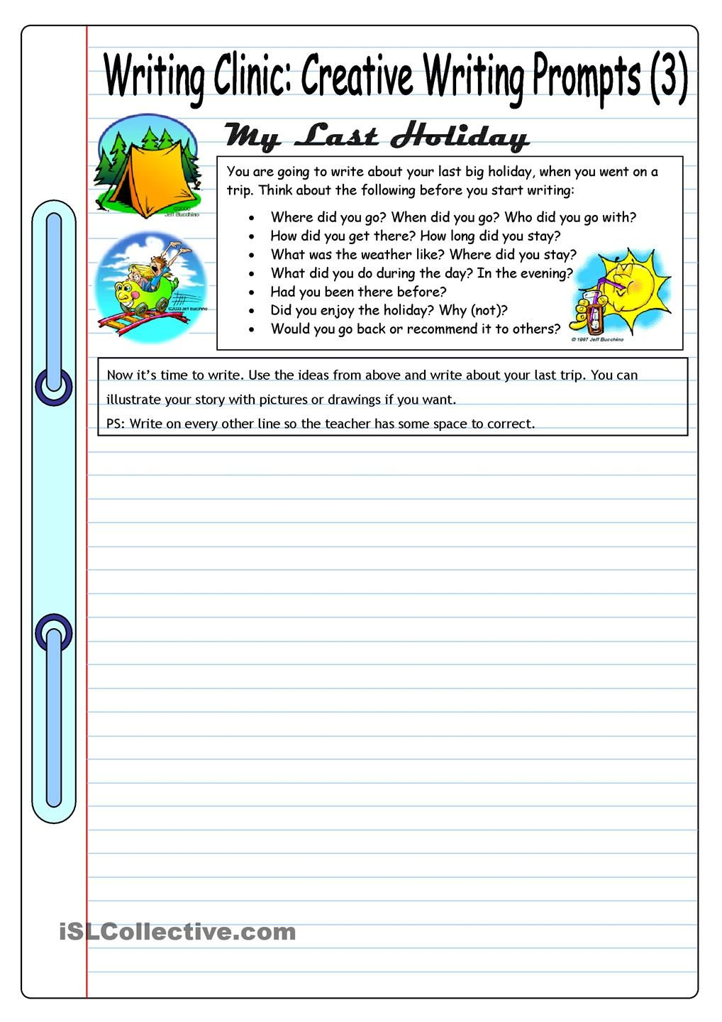 Worksheets Esl Writing Worksheets writing clinic creative prompts 3 my last holiday worksheet free esl printable worksheets made by teachers