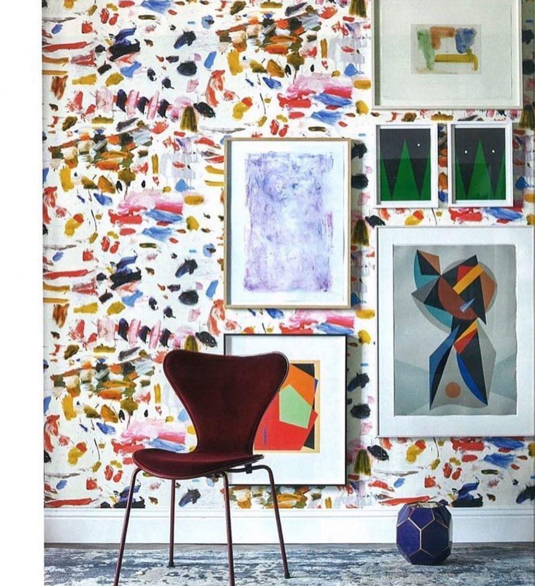 """Papier Peint Pierre Frey la maison pierre frey on instagram: """"« arty » wallpaper in a"""