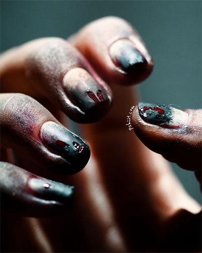 Zombie Nail Art Designs - Zombie Nail Art Designs Halloween Zombie Nail Art Pinterest