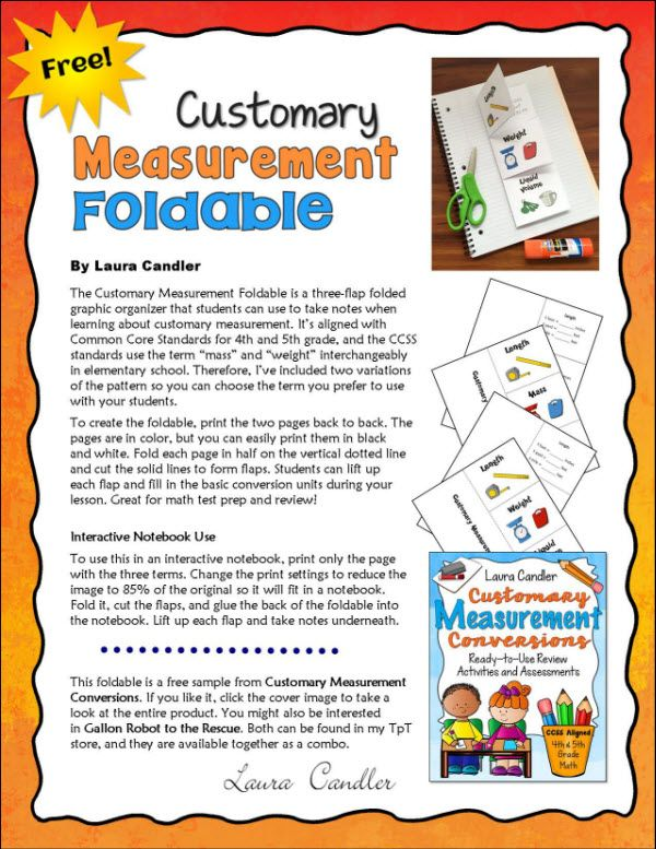 FREE Customary Measurement Foldable from Laura Candler's Teaching ...