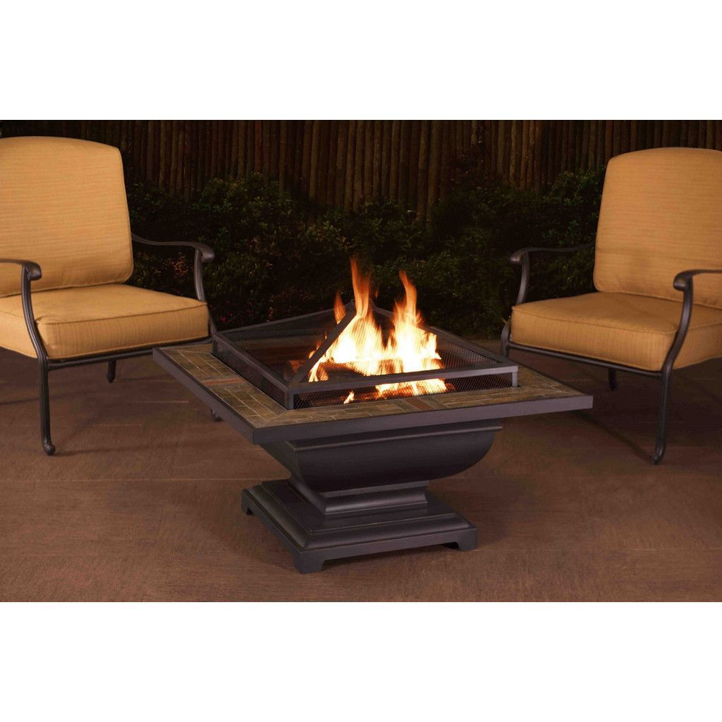 Sunjoy agos slate top square inch fire pit black steel