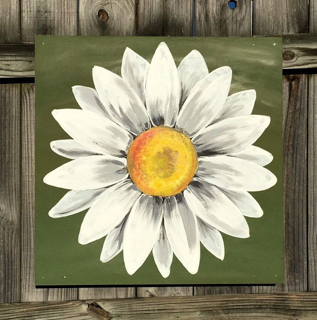 Daisy Painting On Wood Panel Original Flower Art Green And