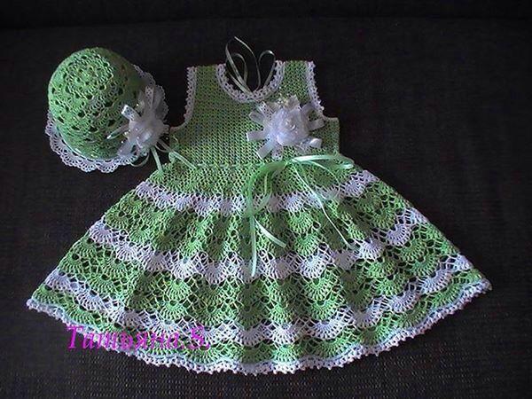 Vestido verde limon a crochet