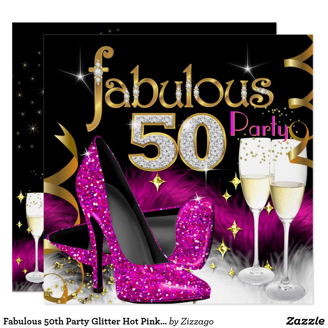Fabulous 50th Party Glitter Hot Pink Champagne Invitation