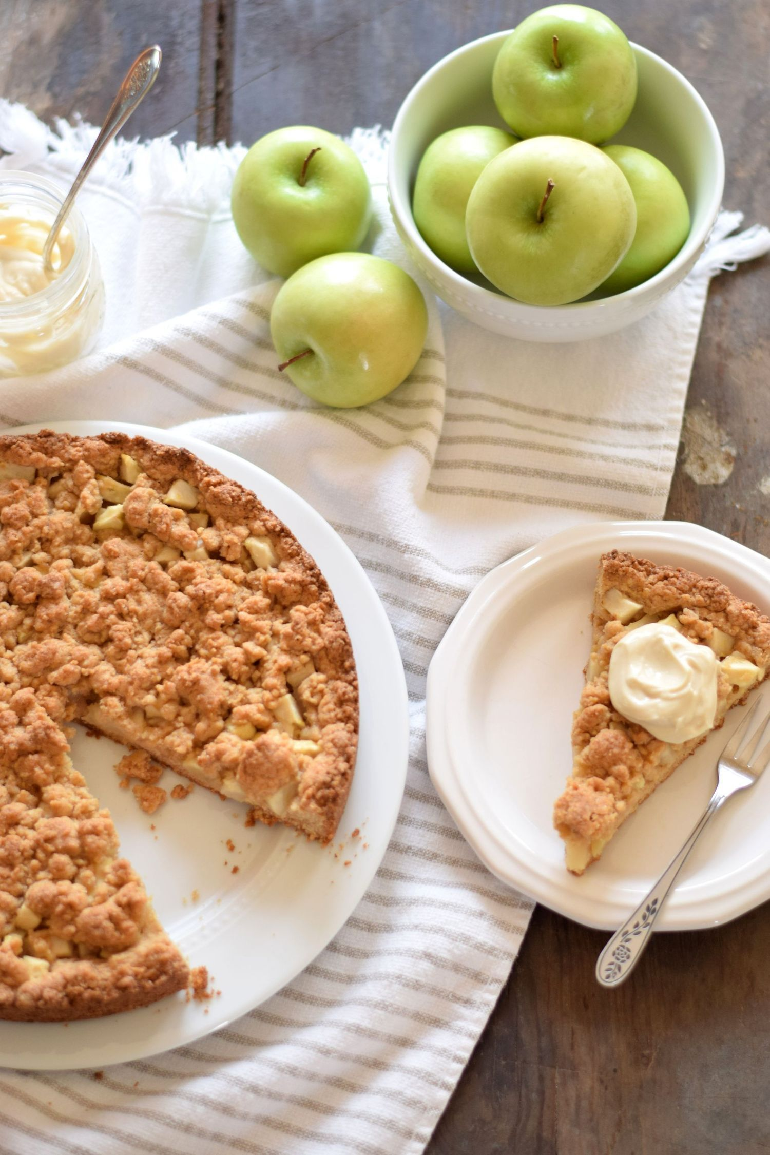 German Apple Streusel Cake With Brown Sugar Mascarpone Cream