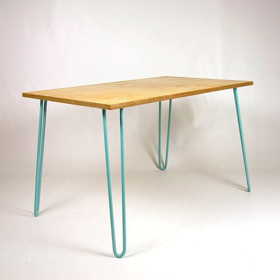 Birch Ply Dining Table With Industrial Hairpin Por Cordindustries