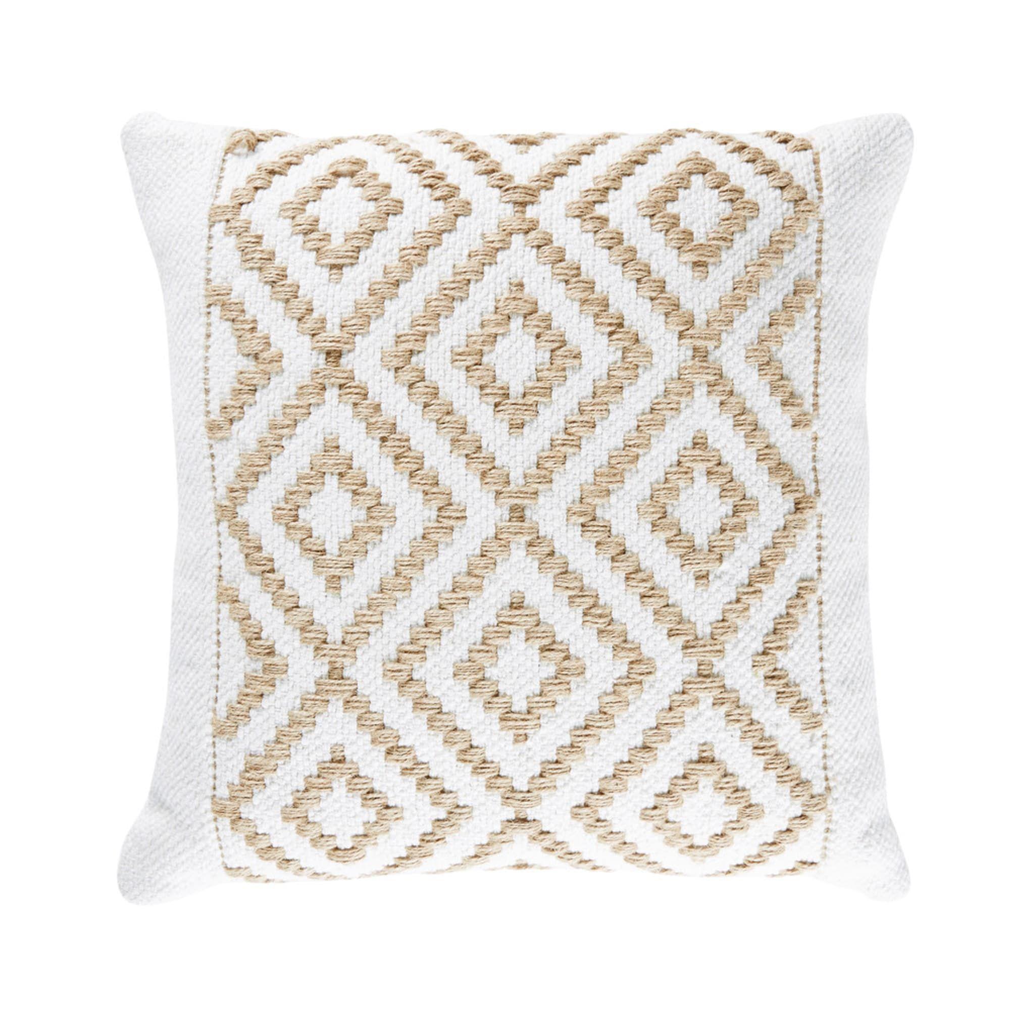 Beige Cotton Cushion With Beaded Graphic Motifs 25x40 Maisons Du Monde Coussin Beige Coussin Coussin Maison Du Monde
