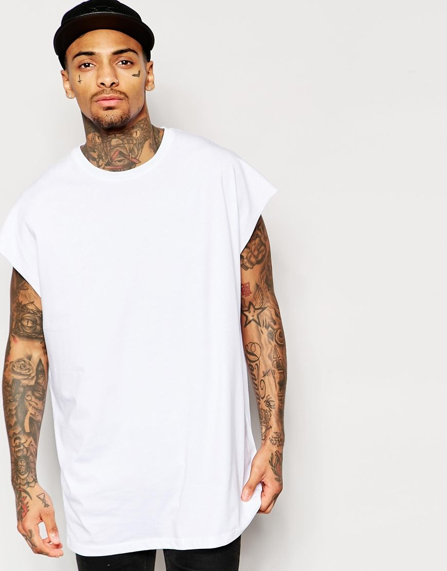 f90754e57 ASOS+Super+Oversized+Sleeveless+T-Shirt+In+White+With+Raw+Sleeve+Opening