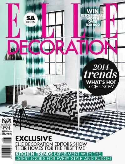 Chevy Throw makes the front cover of Elle Decoration South Africa...