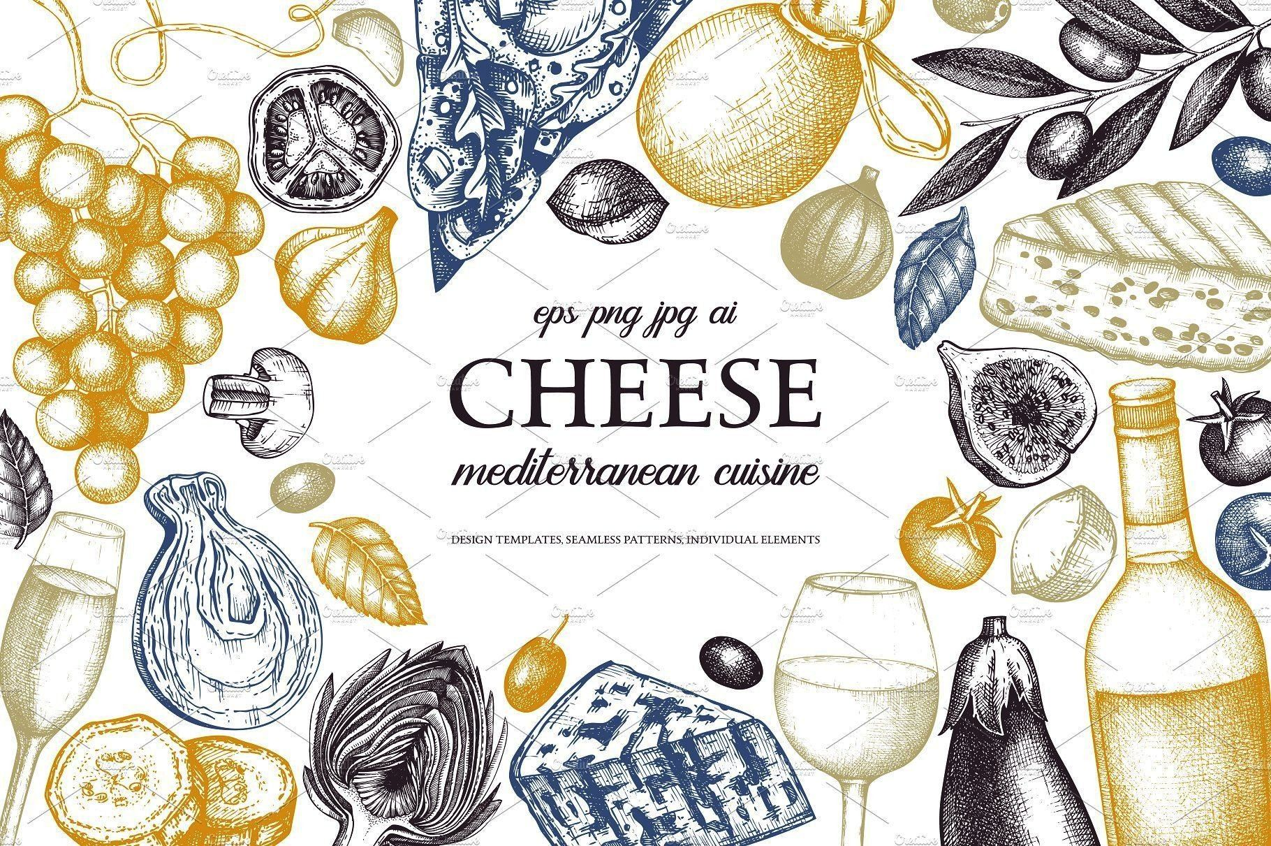 Drawn Cheese IllustrationsHand Drawn Cheese Illustrations  Watercolor French Cheeses Clipart - Fren
