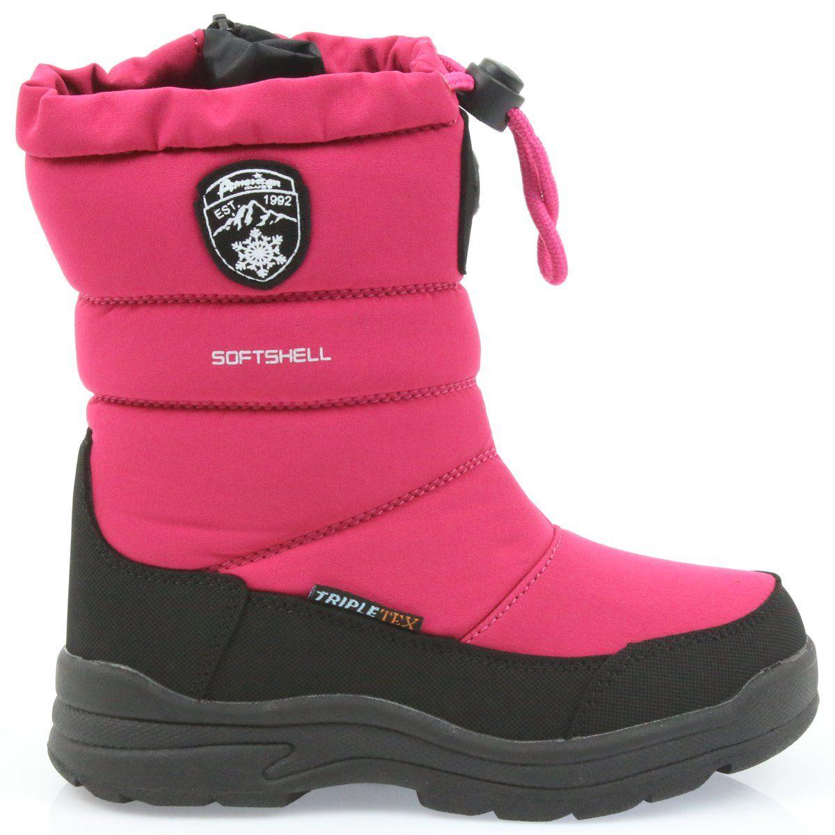 American Club American Buty Zimowe Z Membrana 801sb Czarne Rozowe Boots Shoes Winter Boot
