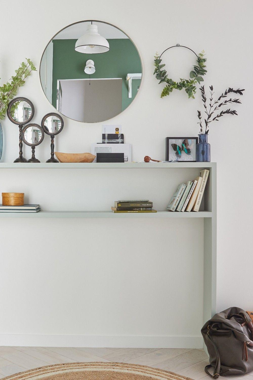 Diy Meuble Console Pour Une Entree Moderne En 2020 Rangement Ouvert Entree Moderne Idees Pour La Maison