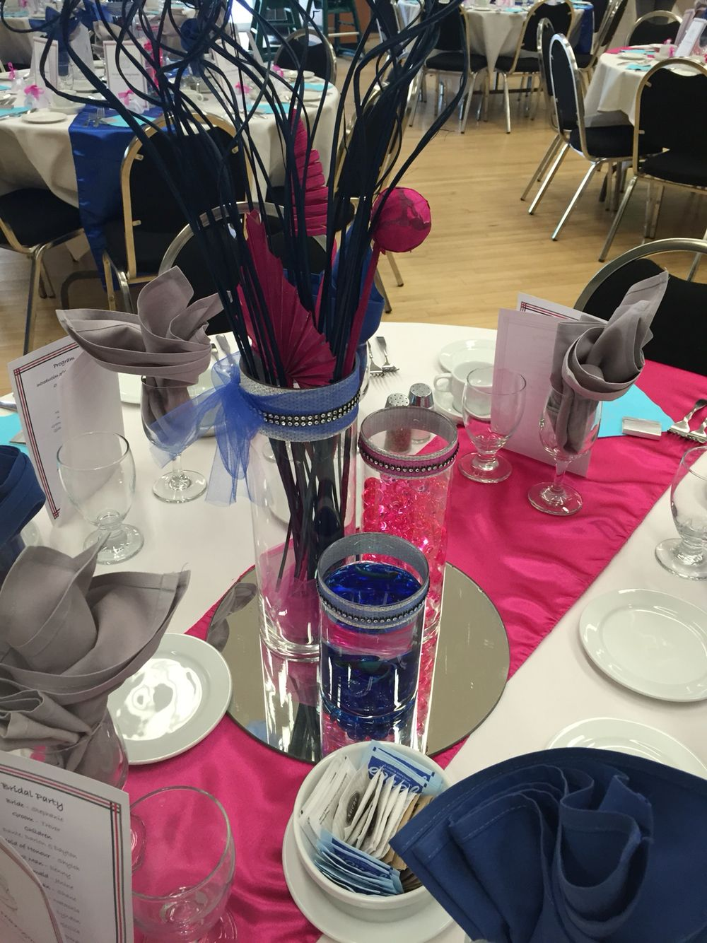 Blue and Pink centre pieces with fish from a cousins wedding !