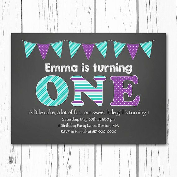 St Birthday Invitations Girl First Birthday Invitation One - 1st birthday invitations girl purple