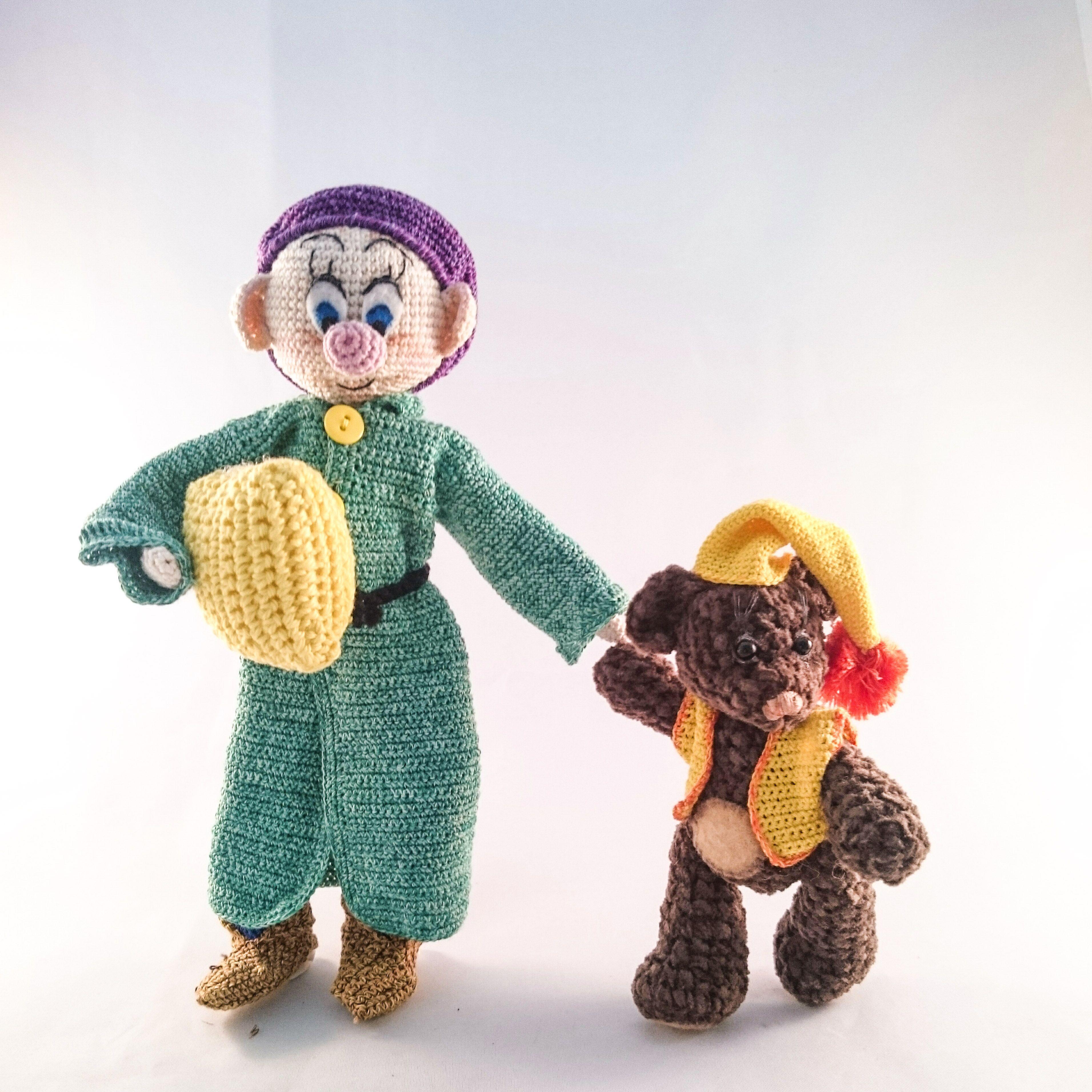 Crochettiky Dark Chocolate Teddy Bear In Pyjama Amp Dwarf